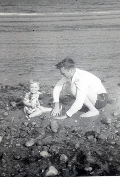 Me with Dad at Compo Beach, 1954 or 55.