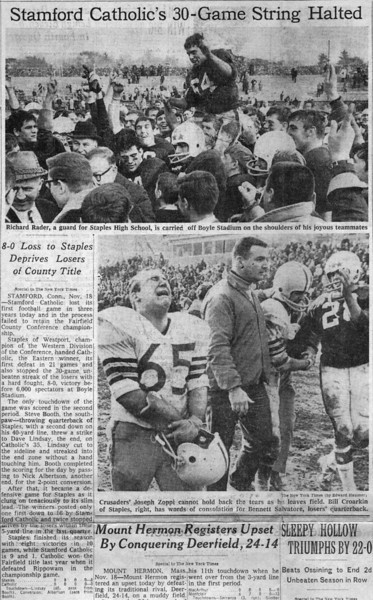 New York Times, Sunday, November 18, 1967.  Staples defeats Stamford Catholic 8-0 for the FCIAC (Fairfield County) championship.