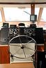 Steering wheel in the boat.