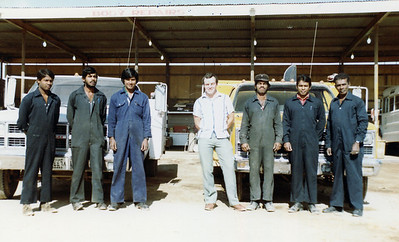 Outside Fitters and Tyre Mechs, Night Shift. Perera, Dasanyka, ?, Me, Victor, Botene, Dawma.