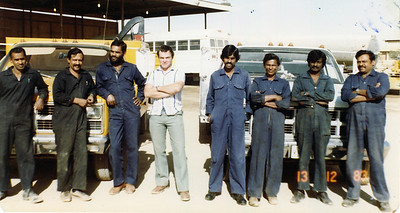 Outside Fitters and Tyre Mechs, Day Shift. Zubair, Nugera, Peiris, Me, Yasaratne, Perera, Susiripala, Primaratne.