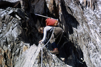 That's me leading the traverse on the climb of the Aguille du Nonne.