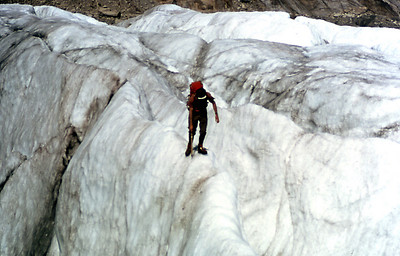 """Chamonixclimb_04.  Crossing the glacier.  This was a bit  """"hairy""""  because I was not experienced on ice."""