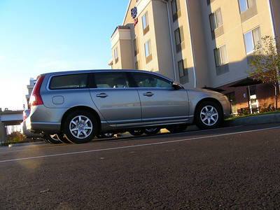 My rental ride is the ultimate Yuppie mom-mobile, a Volvo wagon!