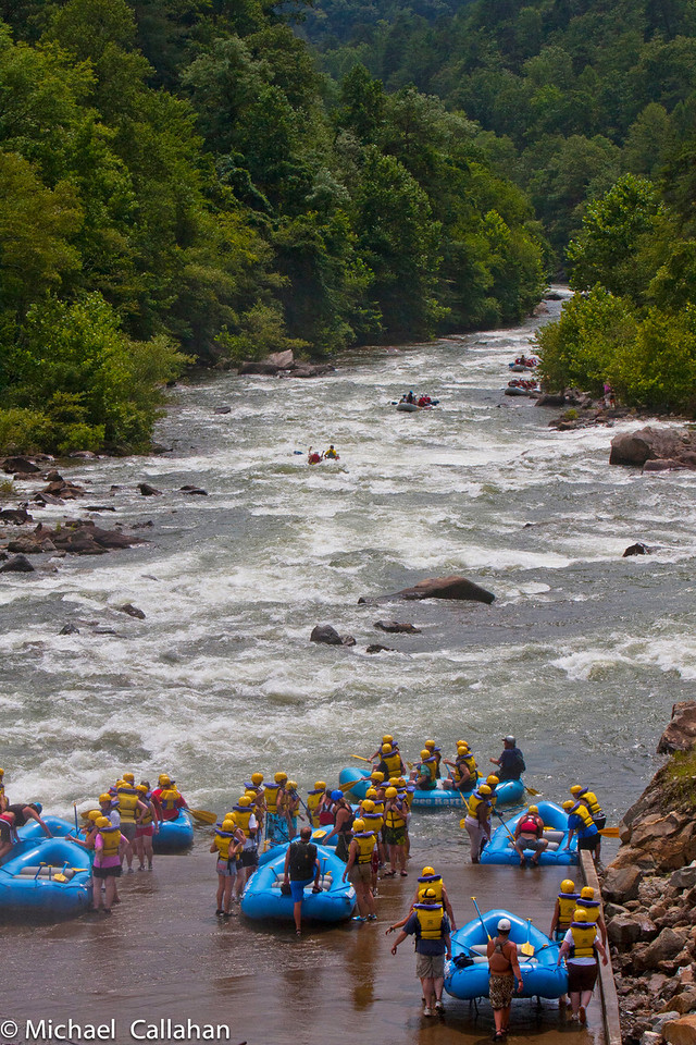 Rafters waiting their turn to float down the Ocoee River.