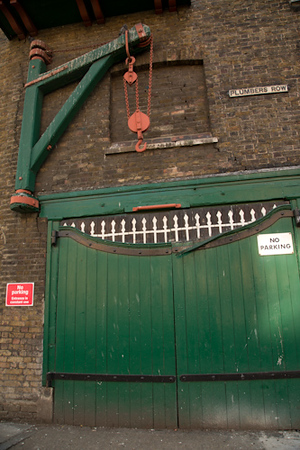 Side of Foundry with old Pulley