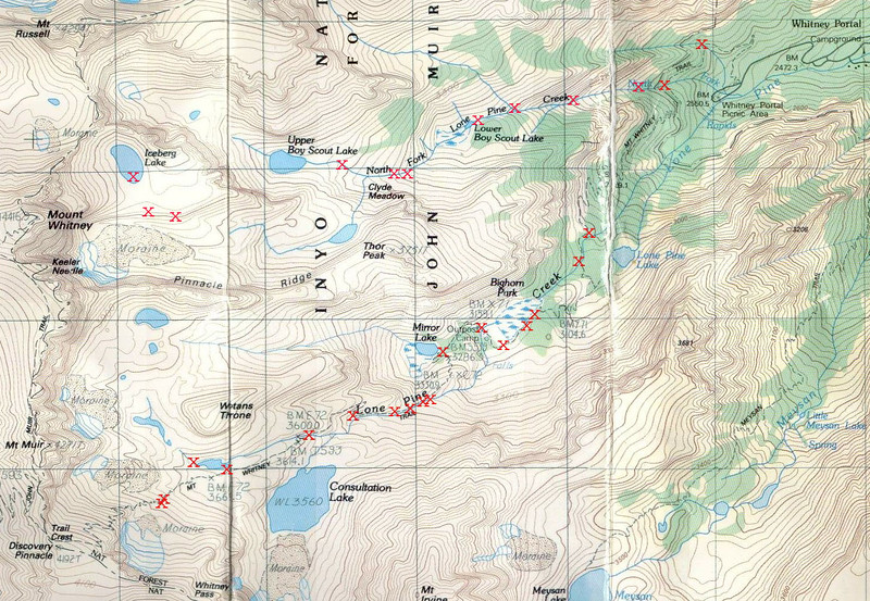 Map showing water sources along the Mt Whitney trail, and also along the Mountaineers Route (North Fork Lone Pine Creek).