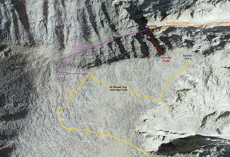 "Mt Whitney Summit, showing the ""Easy Walk-Off Route"" between ""the Notch"" on the Mountaineer's Route and the summit.  It is pretty easy walking, the most difficult is navigating over and around the oversized boulders on the crest, between the trail and the edge."