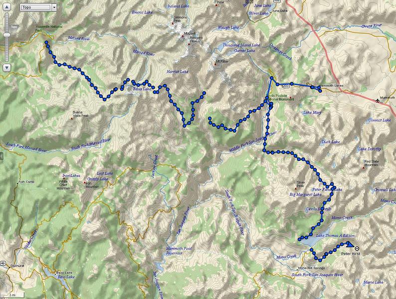John Muir Route of saltydog