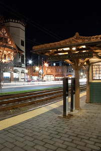 The old style covered waiting area for the green line in Brookline's coolidge corner.