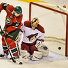 Minnesota Wild left wing Dany Heatley shoots on Phoenix Coyotes goalie Thomas Greiss in the second period.<br /> (Pioneer Press: Ben Garvin)
