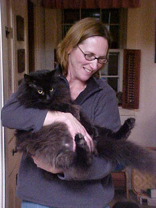 My friend Diane and my much-loved cat James (Big Jim) who passed away in mid 2008.