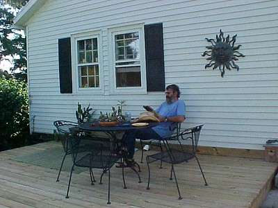 Cuuck relaxing on the new deck in 2005.