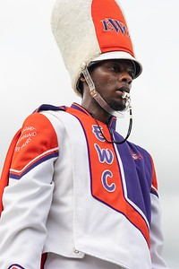 An Edward Waters University drum major is the epitome of focus during the Triple Threat's halftime performance on Saturday, Aug. 28, 2021.