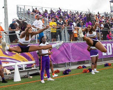 Edward Waters University cheerleaders had a lot to cheer about during the Tigers' 24-20 win over Florida Memorial on Saturday, Aug. 28, 2021. A near capacity crowd watched Edward Waters win its inaugural football game at Nathaniel Glover Community Field & Stadium. (Photo by Will Brown)