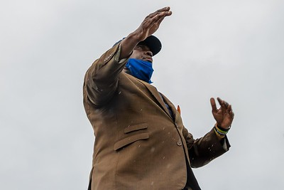Florida Memorial University Director of University Bands Richard Beckford leads the Marching Roar into its first performance on Saturday, Aug. 28, 2021 at Jacksonville's Nathaniel Glover Community Field & Stadiumm