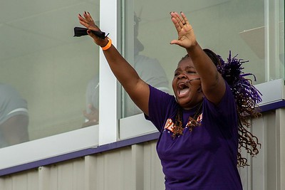 A near capacity crowd cheered on the Edward Waters University football team in its inaugural football game at the Nathaniel Glover Community Field & Stadium on Saturday, Aug. 28, 2021. (Photo by Will Brown)
