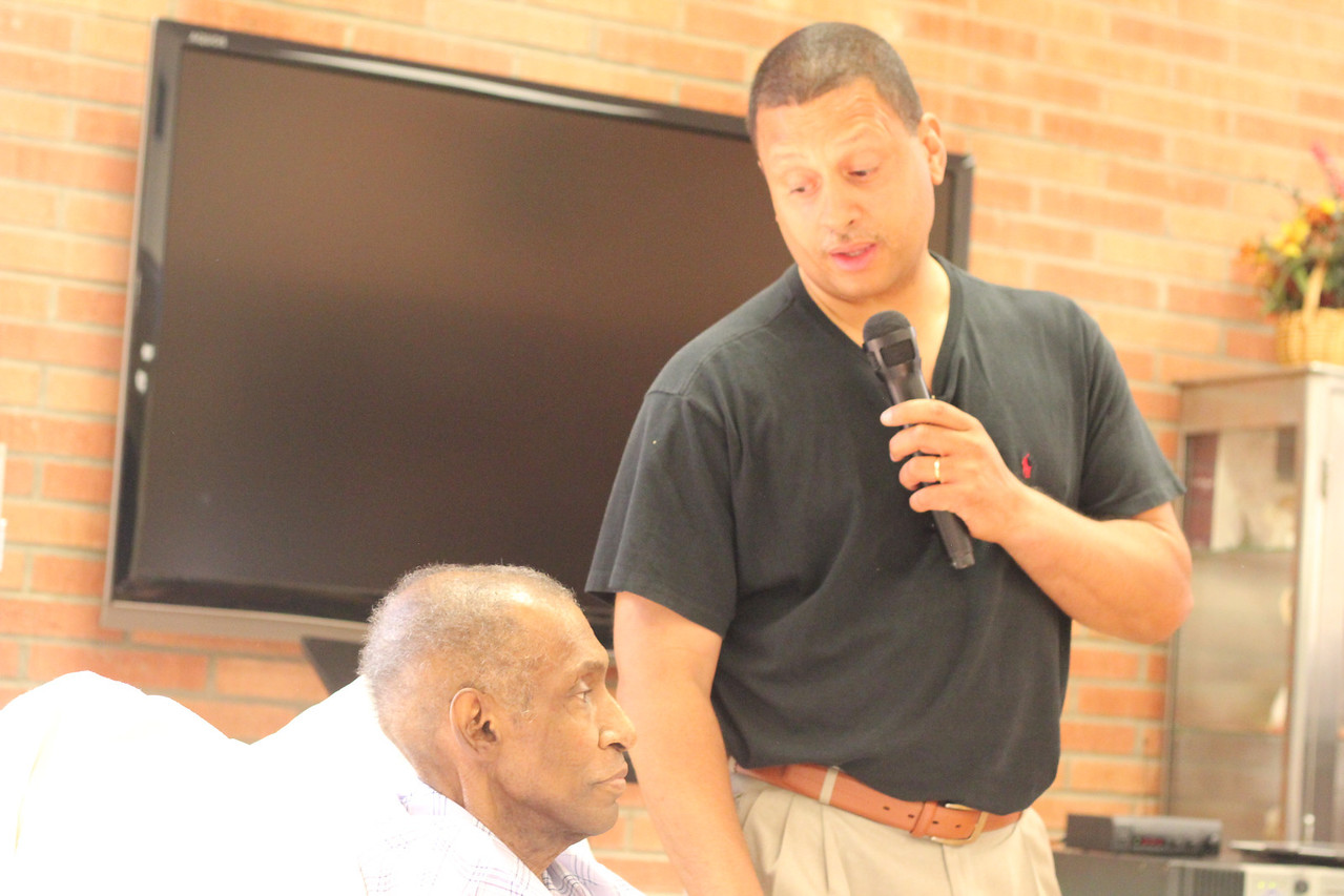 Blair Taylor, outgoing head of the L.A. Urban League, came just to tell Willis he loves him.<br /> <br /> Photo by Isidra Person-Lynn