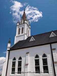 Sanctuary windows and steeple - St. John the Baptist-Ammannsville, Texas