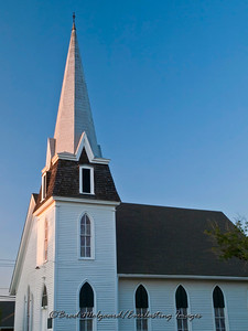 """Evening Steeple Light"" - First Presbyterian Church-Giddings, Texas"