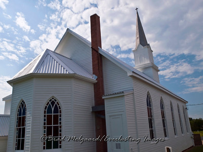 Turret windows, chimney and steeple - St. Michael's Lutheran Church, Missouri Synod - Winchester, Texas