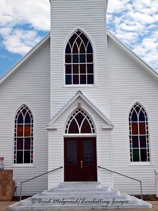 Sanctuary entrance and three windows - St. Michael's Lutheran Church, Missouri Synod - Winchester, Texas