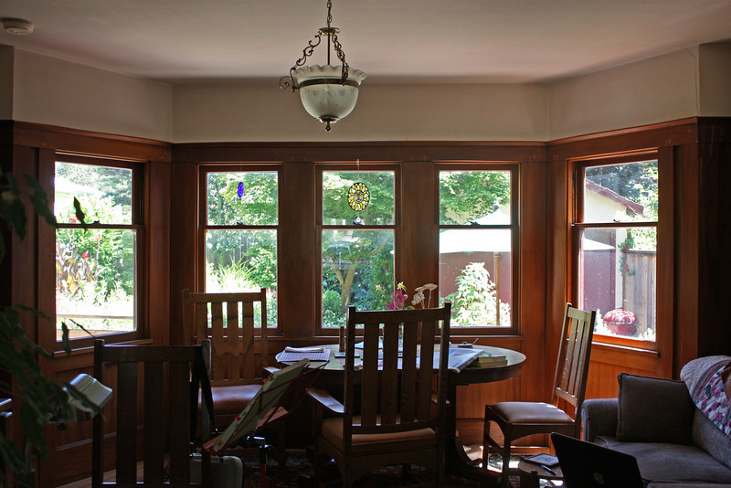 These are the dining room windows, facing almost due south. Sunny winter mornings are very warm. Overcast winter mornings are not.
