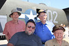 Bill Blair (brown shirt) and Lewis Brousseau (blue shirt) were in same bomber squadron in WWII. Red shirt is Alan Linegar who was in the Royal Air Force in WWII. Dave Bassett (gray shirt, VietNam 1966-1967) was privileged to join these vets for a group photo.