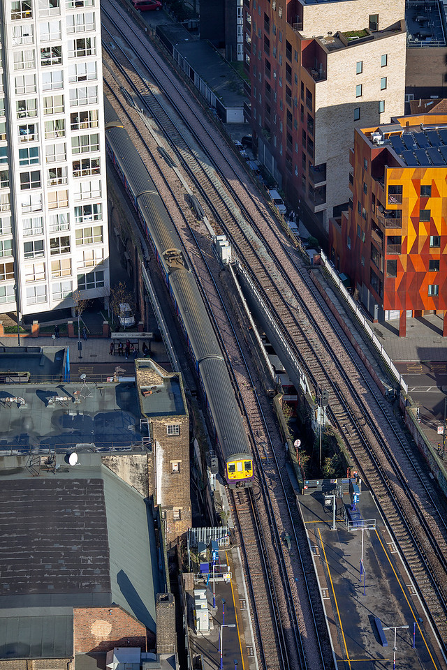 A dynamic but unusual view of class 319, 319003 leaving Elephant and Castle for Blackfriars on Tuesday 4th December.