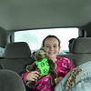 Hannah with her gymnast bear!  Excited to get to Lava Hot Springs!