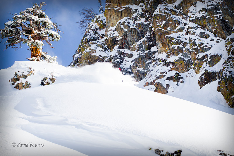Aaron Dahill enjoying the goods after running avalanche hazard reductiion on Route 9, Casper Bowl, Jackson Hole.