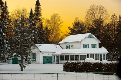 White House in Snow at Sunset