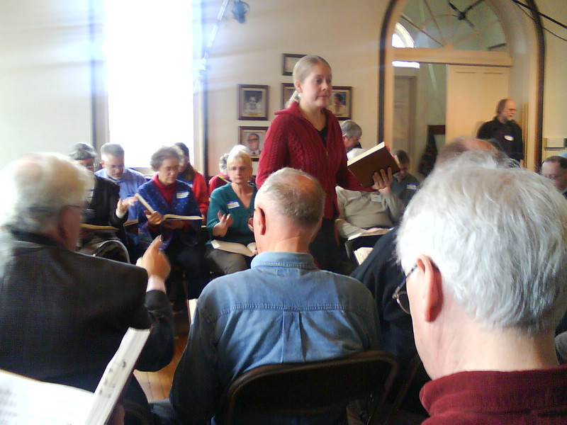 Stephanie leads a Sacred Harp tune (should have written down what)