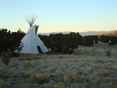 New Years eve, sundown, tipi with Jemez Mountain backdrop