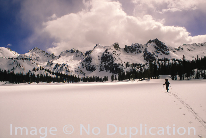 Ski touring at Alice Lake, Sawtooth Wilderness, Idaho