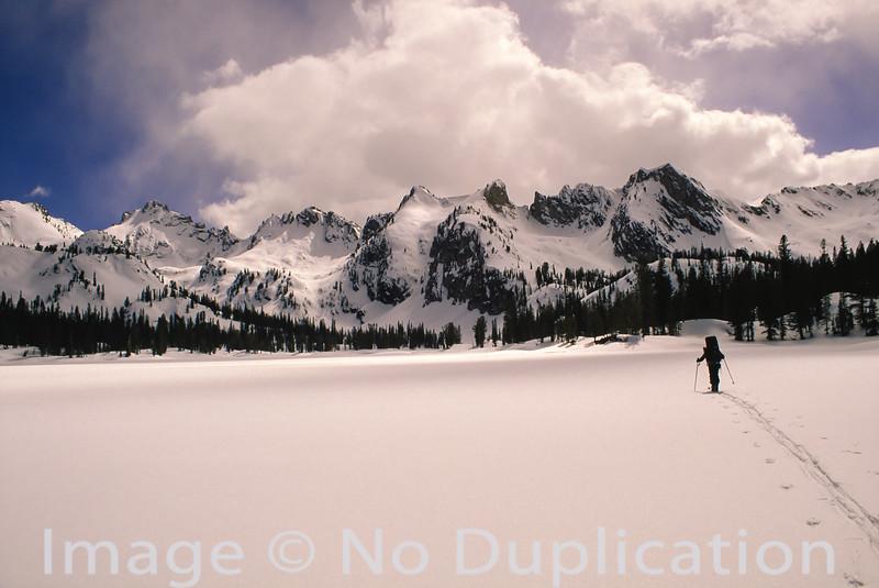 Skiing Across Alice Lake
