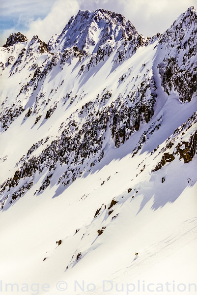 Backcountry skier in the White Clouds
