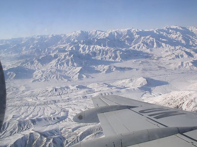 Kabul from the air - cradle of civilization. Beautiful valley.