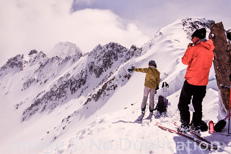 Backcountry skiers in the White Clouds