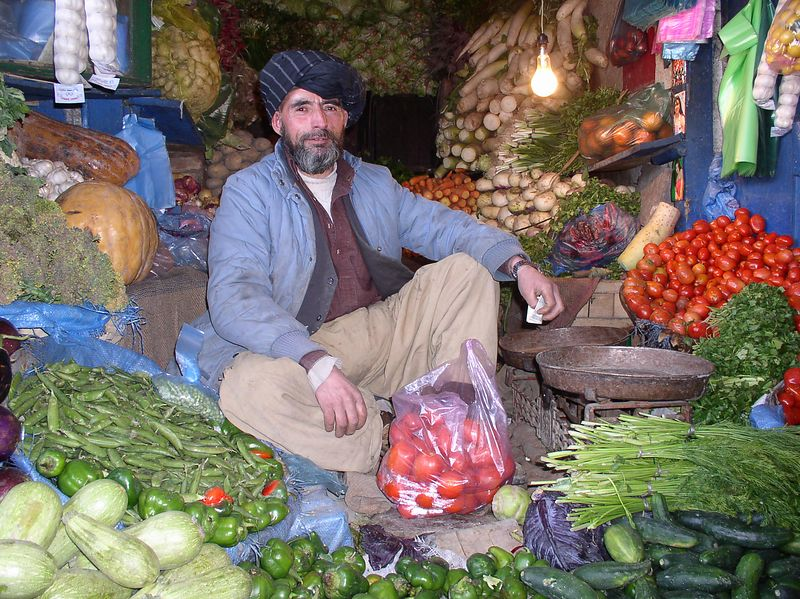 This gentleman runs a vegetable market on Chicken Street - delicious food.