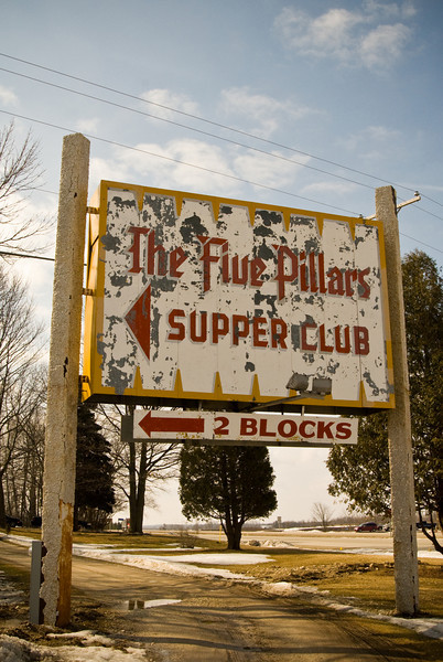 Dilapidated supper club sign near Random Lake, WI.