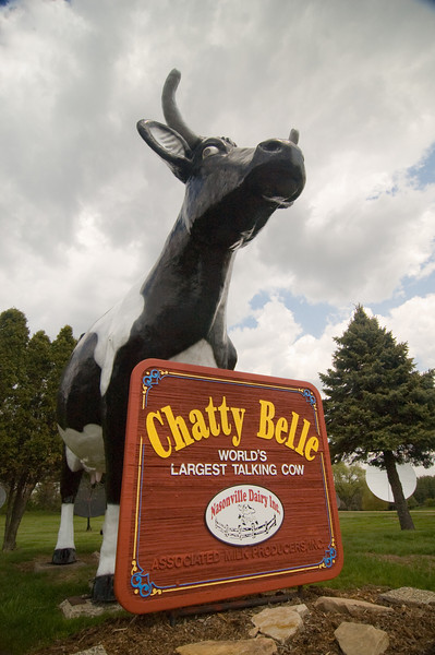 Chatty Belle, the World's Largest Talking Cow, stands guard near Neillsville, WI.