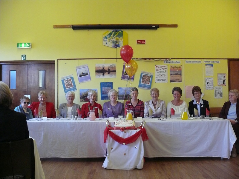 Top Table - Past & present Presidents, secretary, and two members.<br /> (from Left to Right: - Pat, Chrissy, Grace (original member) , Stephanie (secretary), Joyce Clayton, Anne, Hazel, Margaret, Jackie, Hilda.(life member)