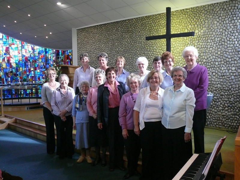 Members of the Wives Choir from 30 years ago, brought back together for the special service.