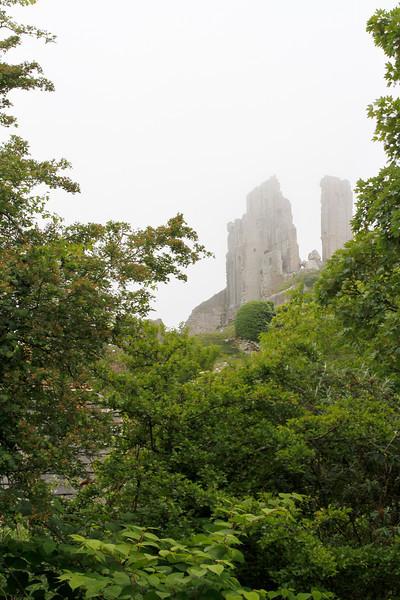 The castle shrouded in swirling mist.