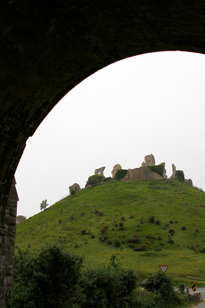 A peculiarly distorted appearance of the castle ruins when viewed under the railway arch.