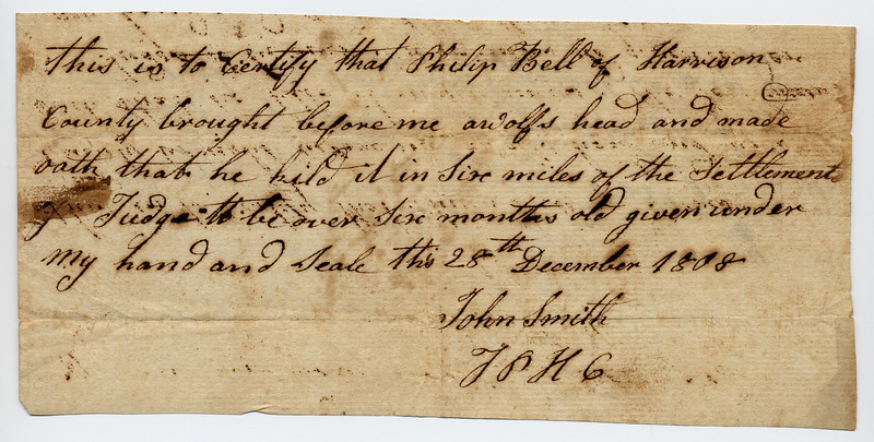 Harrison County, Indiana Territory, 1808.  Title under signature is Justice of the Peace, Harrison County
