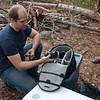 Graham, a Canon man, checking out Oli's Nikon kit.