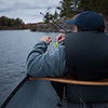 It was overcast and dusk so we thought it would be a good time to go fishing. It was not - there was nothing to catch. Trevor had to sit in the bottom of the canoe for stability.