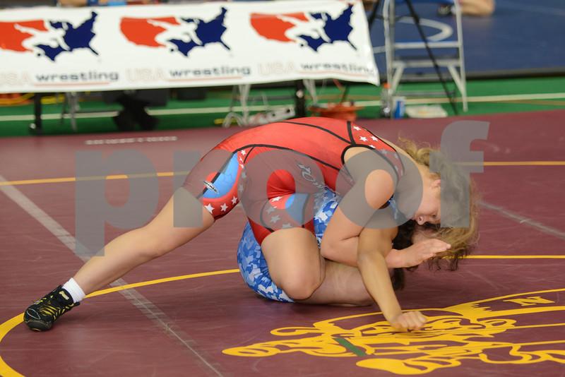 2014 USAW Jr Women`s FS Nationals<br /> 130 - Quarterfinal - Jasmine Bailey (Iowa) won by tech fall over Samantha Ouye Gonzalez (New York) (TF 11-0)